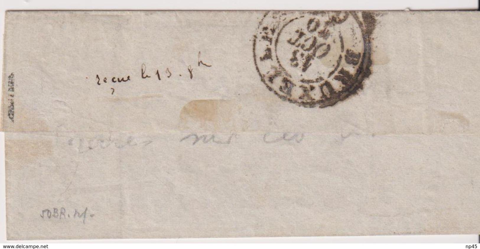 FRANCE                           BALLON MONTE  POUR BRUXELLES DEPART LE 4 OCTOBRE  1870  TB - Marcophilie (Lettres)