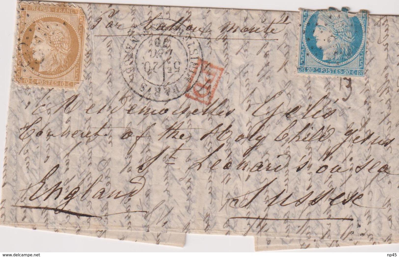 FRANCE                         4 BALLONS MONTES POUR LA GRANDE BRETAGNE AVEC AFFRANCHISSEMENT DEF. - 1849-1876: Klassieke Periode