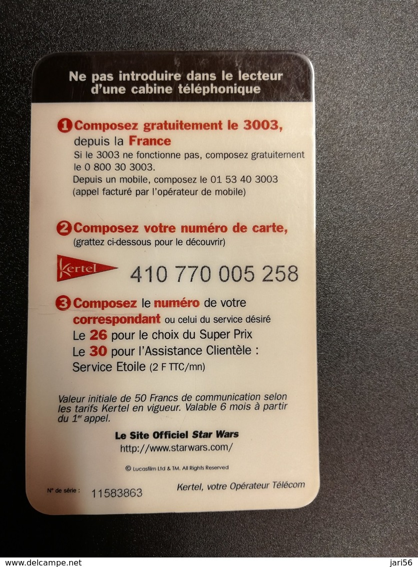 FRANCE/FRANKRIJK  50FRANC KERTEL COLL STAR WARS  PREPAID     ** 829** - Nachladekarten (Handy/SIM)