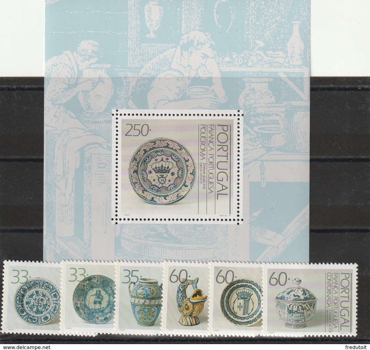 PORTUGAL - N°1784/89+Bloc N°70 ** (1990) Faïences - Nuovi