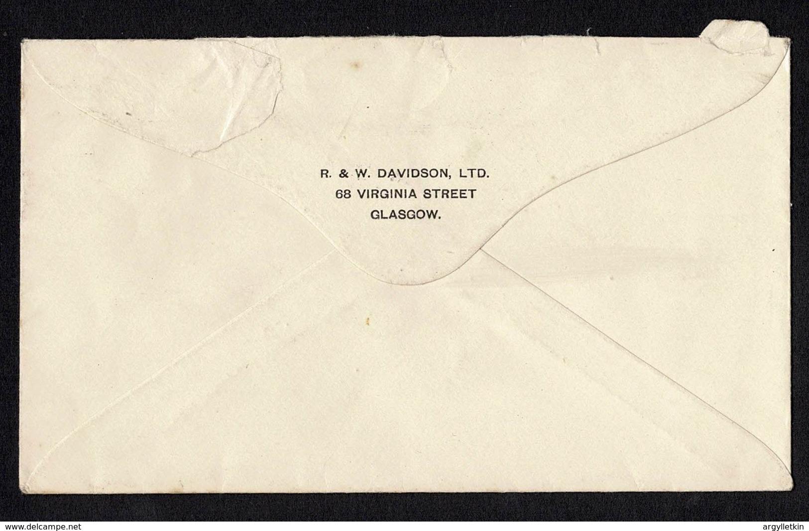 GB KGV STATIONERY ENVELOPE GW TRIANGLE REDUCED POSTAGE GLASGOW BELFAST 1922 - 1902-1951 (Kings)