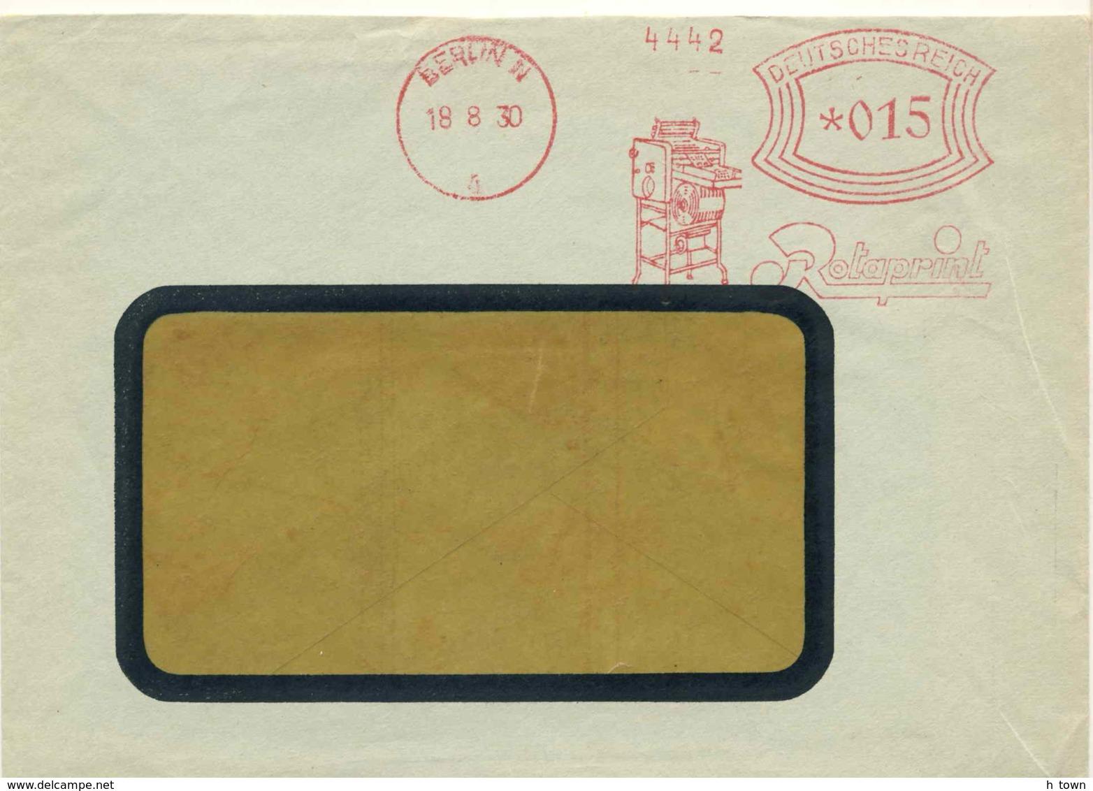 7270  Presse, Imprimerie: Ema D'Allemagne, 1930 - Printing Press Meter Stamp From Berlin, Germany. Rotaprint - Usines & Industries