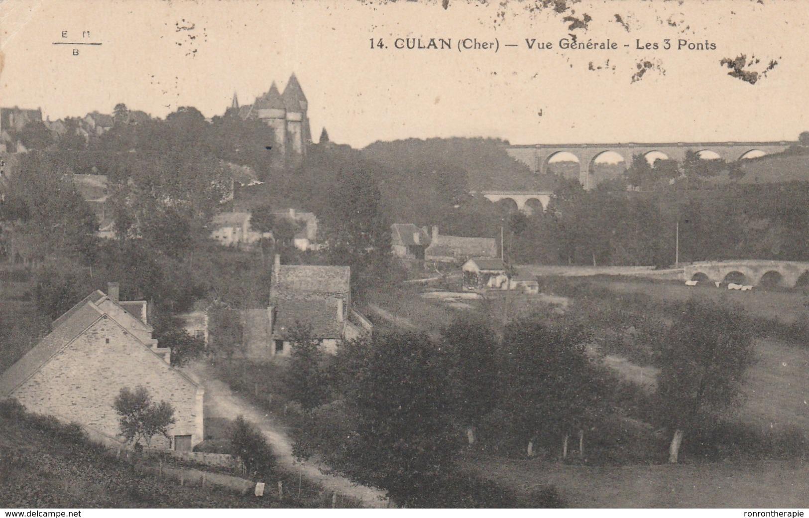 CPA (18) CULAN  Vue Générale Les 3 Ponts  (R.V)   D 168 - Culan