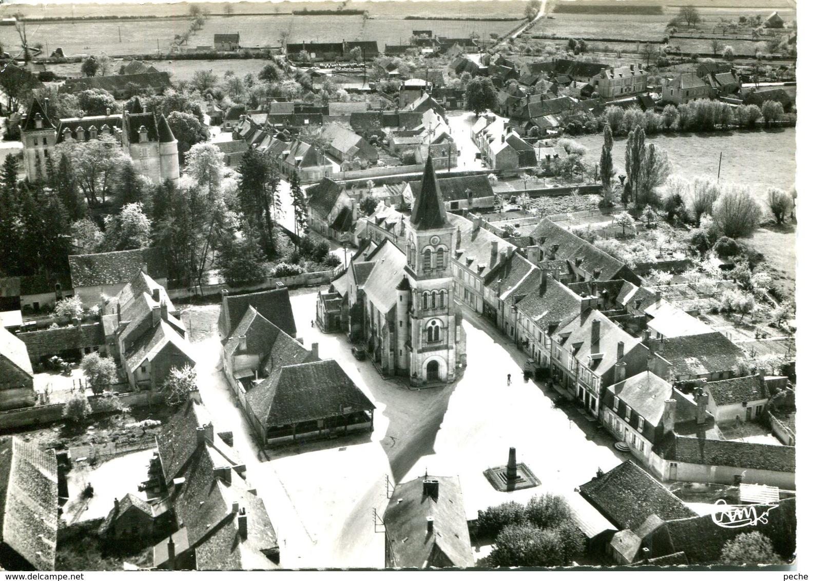 N°6152 T -cpsm Blet -la Place, L'église Et Le Château- - Autres Communes