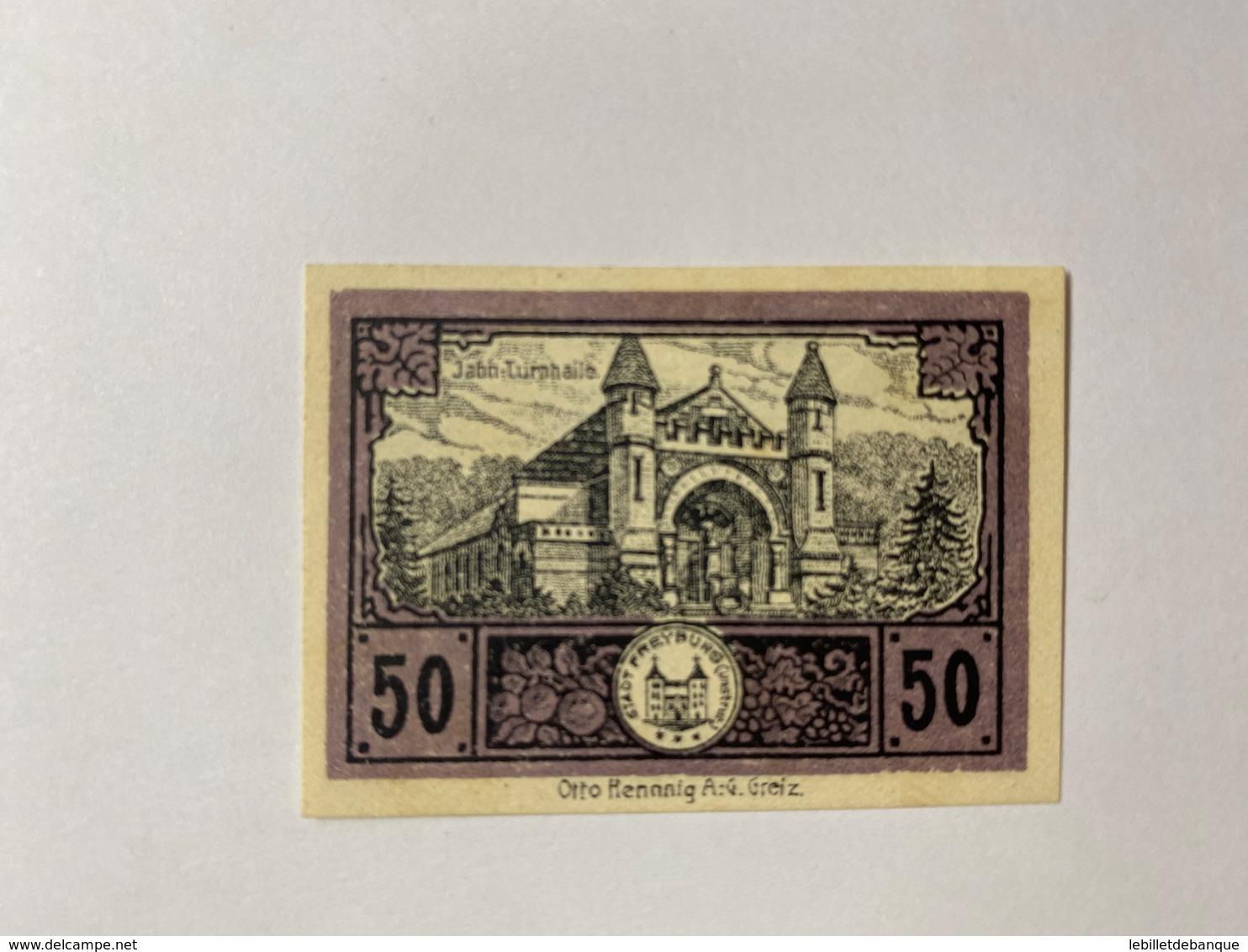 Allemagne Notgeld Freyburg 50 Pfennig - [ 3] 1918-1933 : République De Weimar