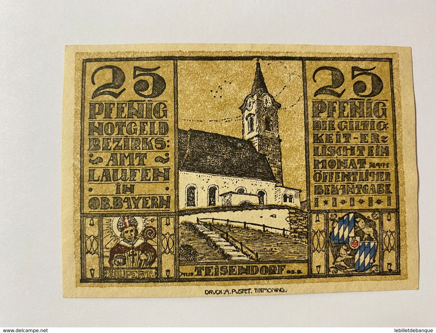 Allemagne Notgeld Laufen 25 Pfennig - [ 3] 1918-1933 : République De Weimar