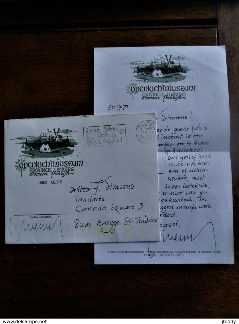 Briefomslag Met Inhoud 1971 Openluchtmuseum  Domein  Bokrijk  Pro .  LIMBURG  GENK - Faire-part