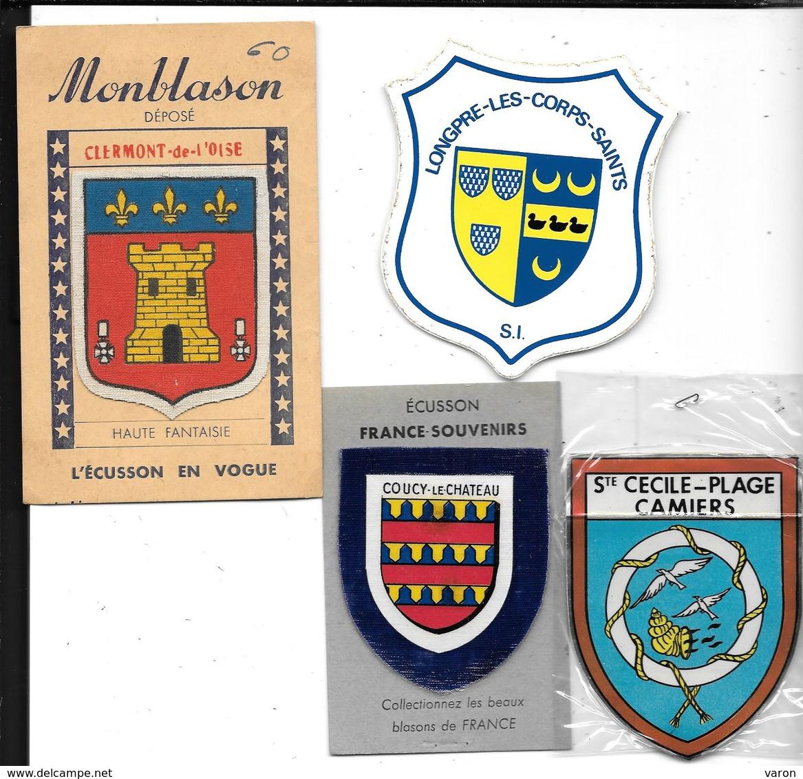 4 ECUSSONS Adhésifs -auto-collants  BLASON / ARMOIRIES /HERALDIQUE -HAUTS De Fr. CLERMONT - LONGPRE - COUCY - STE CECILE - Obj. 'Souvenir De'