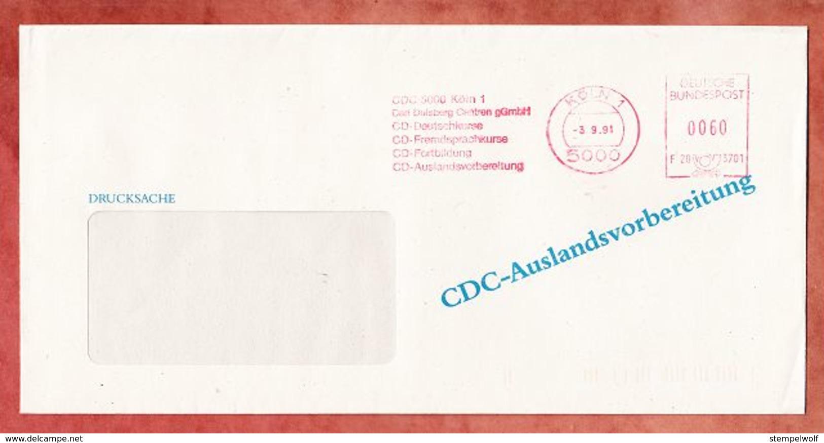 Drucksache, Francotyp-Postalia F20-3701, CDC Carl Duisberg Centren, 60 Pfg, Koeln 1991 (92704) - Machine Stamps (ATM)