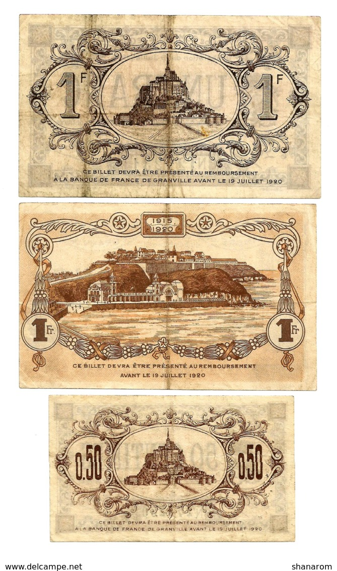 1914-1921 // C.D.C. // GRANVILLE // 3 Billets // 50 Centimes & Un Franc - Chambre De Commerce