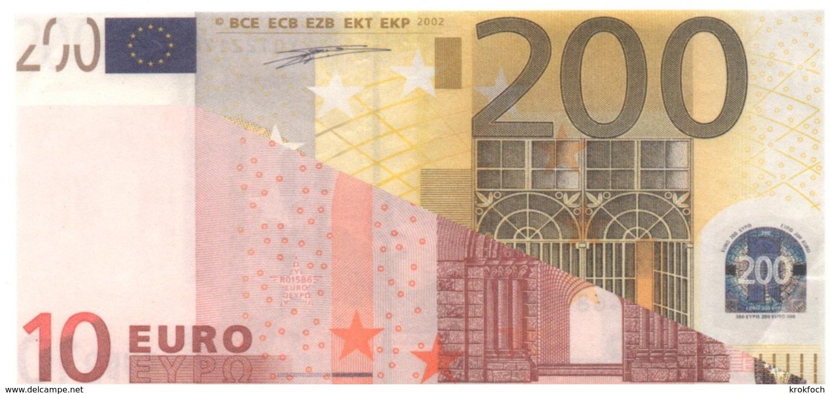 Montage Publicitaire Billet 10 & 200 Euros - Vierge Au Verso - EURO