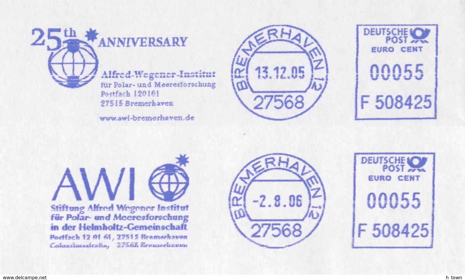 8190  Institut Alfred Wegener, Recherche Polaire Et Marine: 2 Ema - Polar And Marine Research Inst. Geology Meteorology - Research Programs
