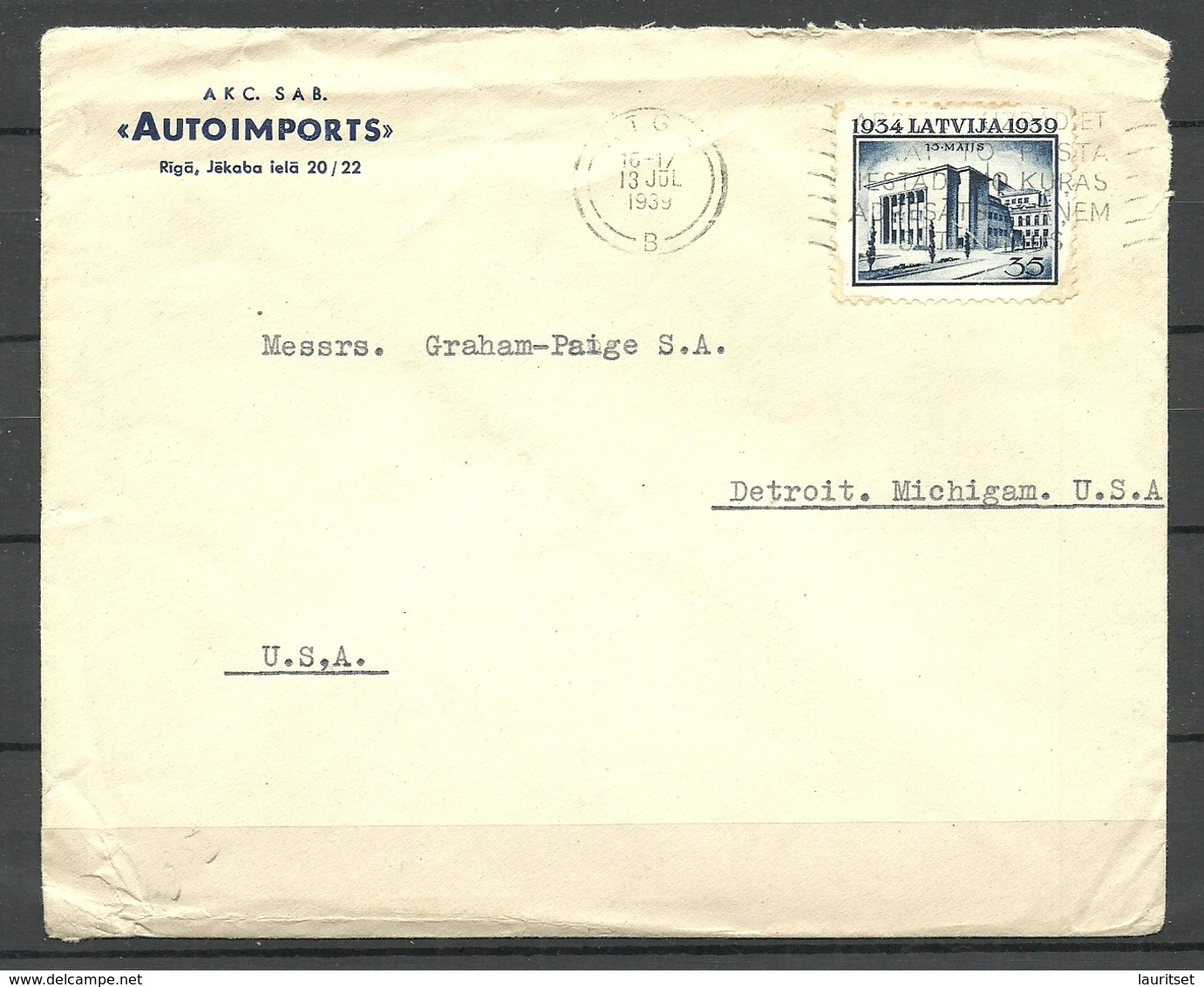 """LETTLAND Latvia 1939 Commerial Cover """"Autoimports"""" To USA Michel 276 As Single Advertising Cancel - Lettland"""