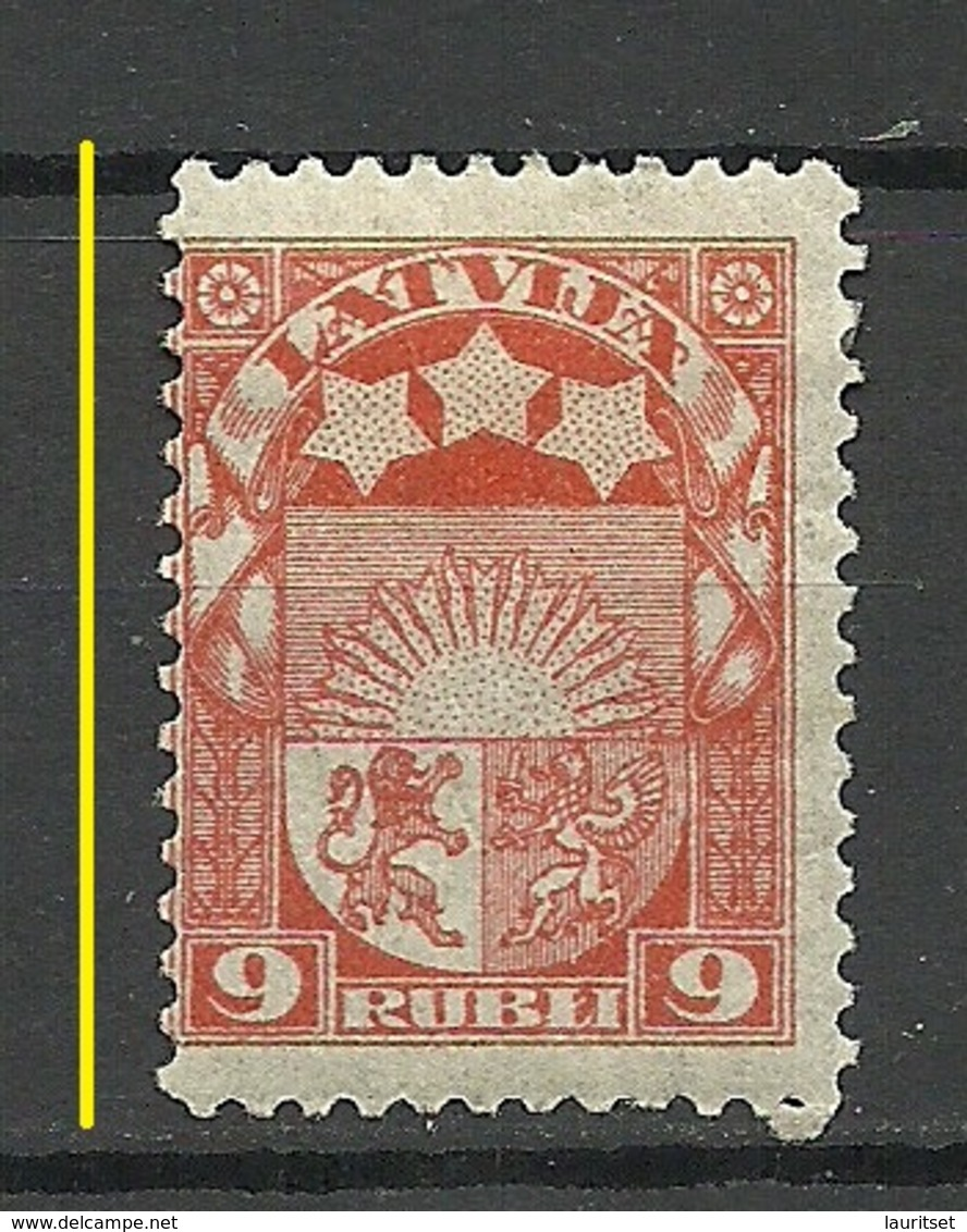 "LETTLAND Latvia 1922 Michel 83 * Perforation Variety ERROR Abart ""Narrow Stamp"" - Lettland"