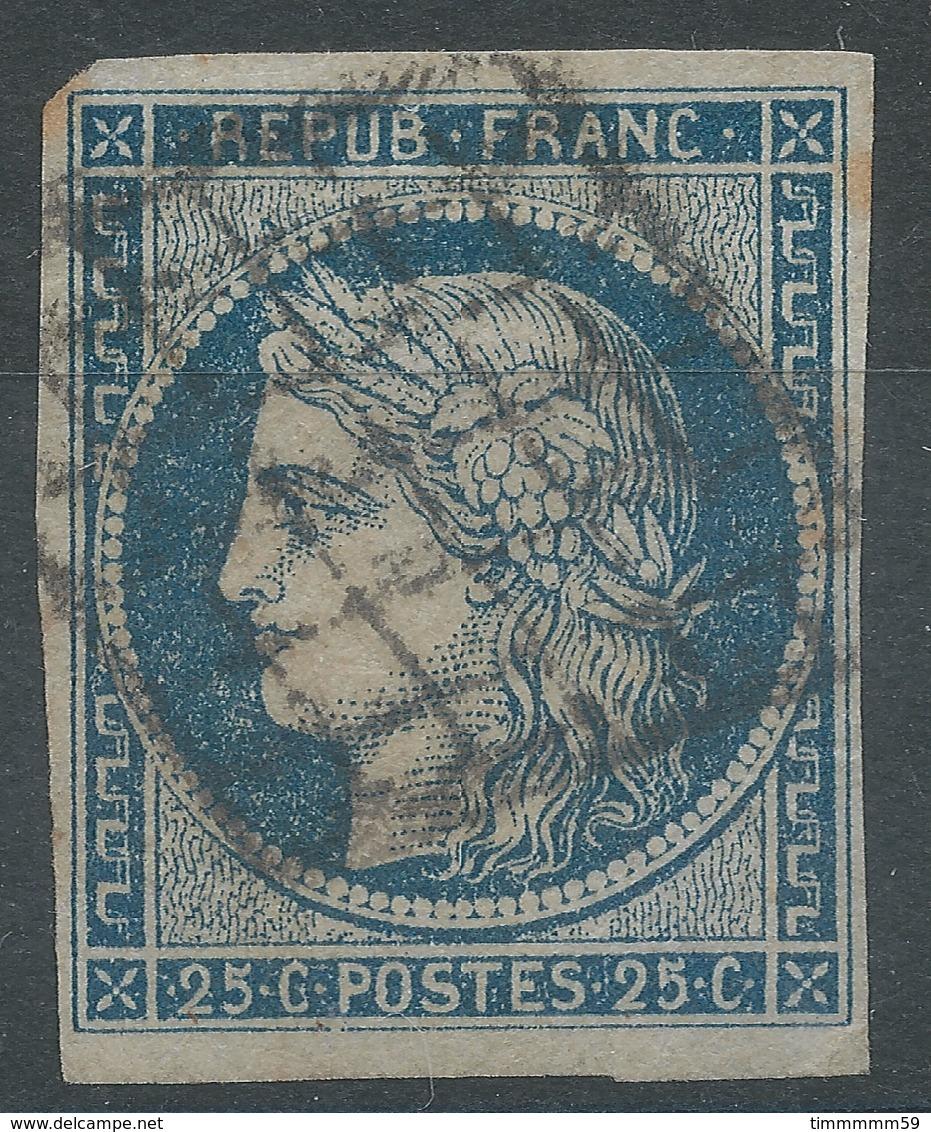 Lot N°54690   N°4a Bleu Foncé, Oblit Grille De 1849, Bonnes Marges, Sans Pli, Ni Clair - 1849-1850 Cérès