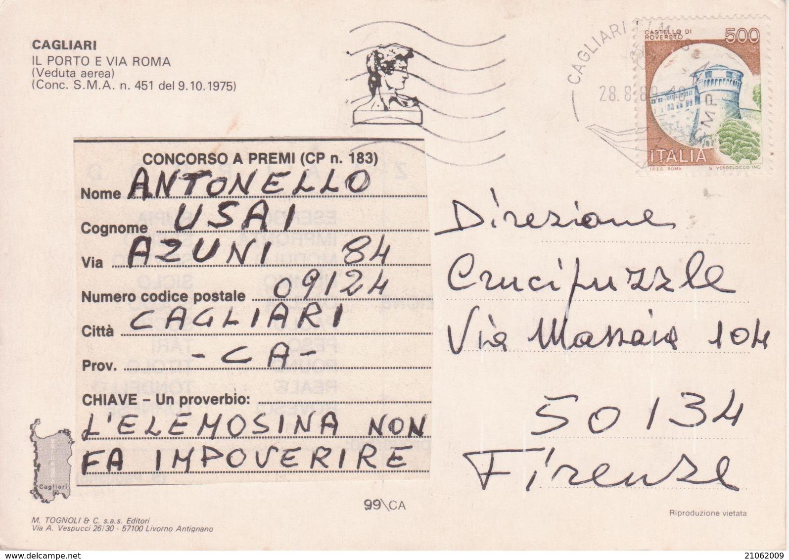 CAGLIARI - IL PORTO E VIA ROMA - VEDUTA AEREA - VIAGGIATA 1989 - Cagliari