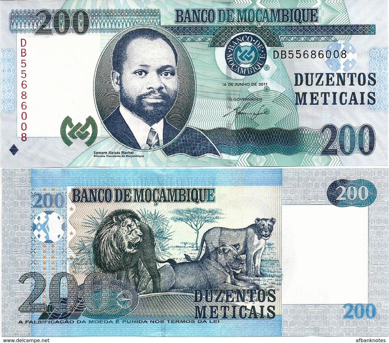 MOZAMBIQUE       200 Meticais       P-152a       16.6.2011       UNC - Mozambique
