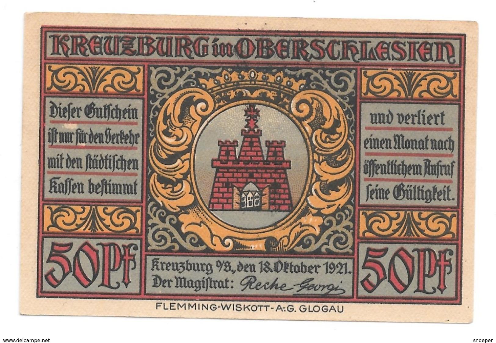 *notgeld Kreuzburg 50 Pfennig   744.2./2 - [11] Emissions Locales