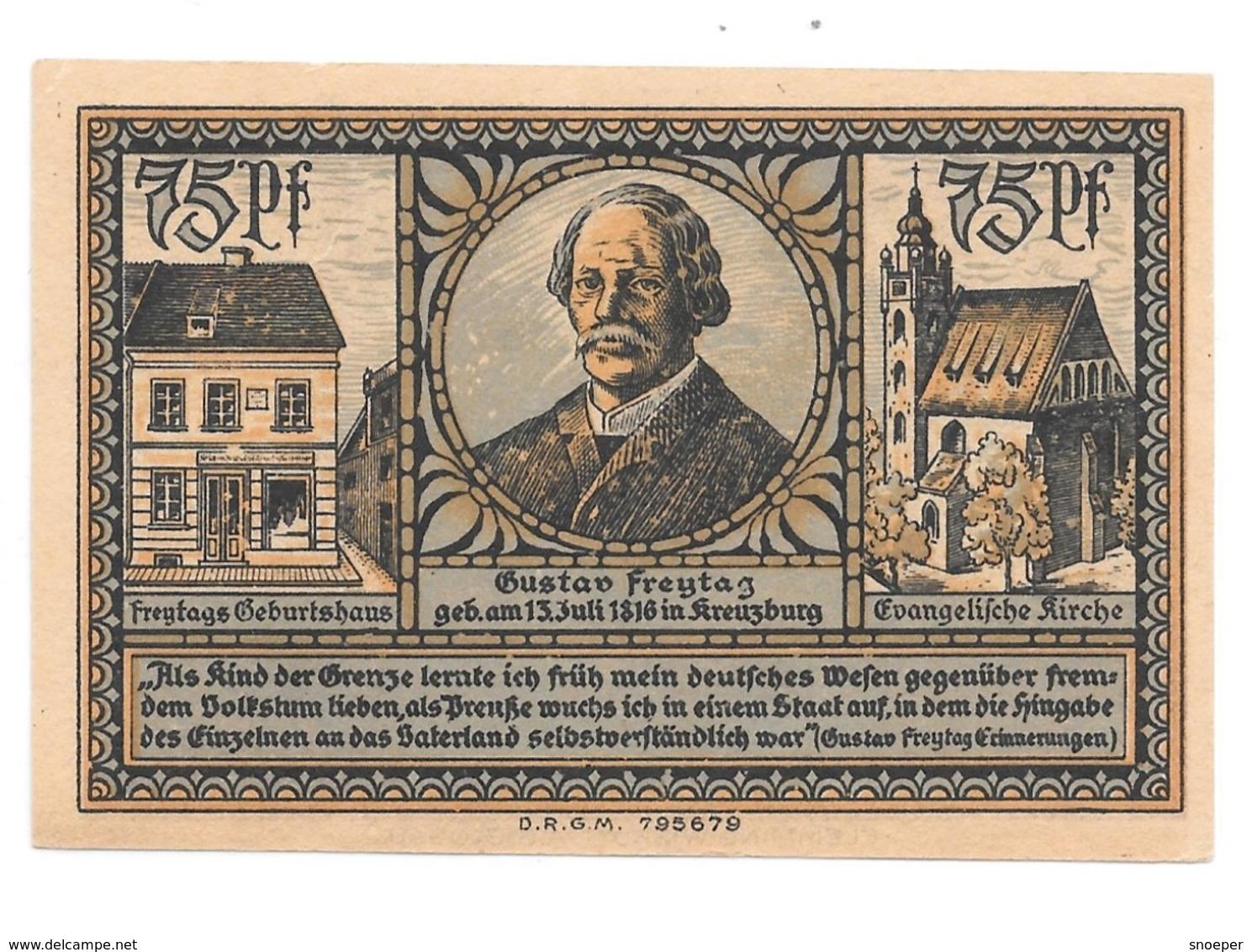 *notgeld Kreuzburg 75 Pfennig   744.2./1 - [11] Emissions Locales