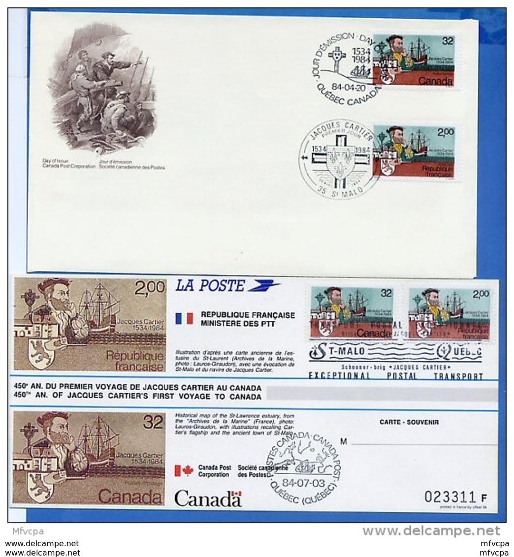 L4K110 FRANCE 1984 FDC Jacques Cartier Quebec St Malo 20 04 1984  Emission Commune/encart Luxe - Gemeinschaftsausgaben