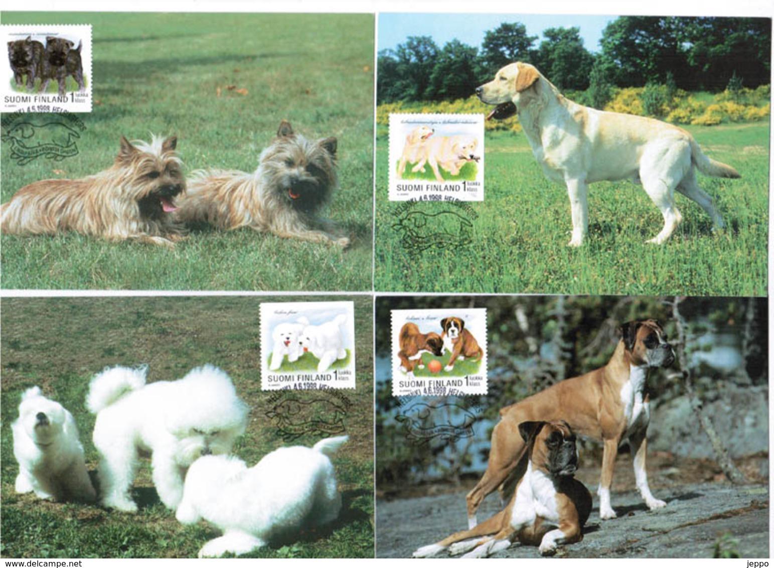1998 Dogs, Posti's Maximum Cards No 38 - 41. - Maximumkaarten