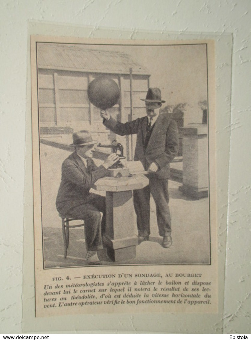 Le Bourget Sondage Météorologiste Avec Ballon à Main  - Coupure De Presse De 1928 - GPS/Radios