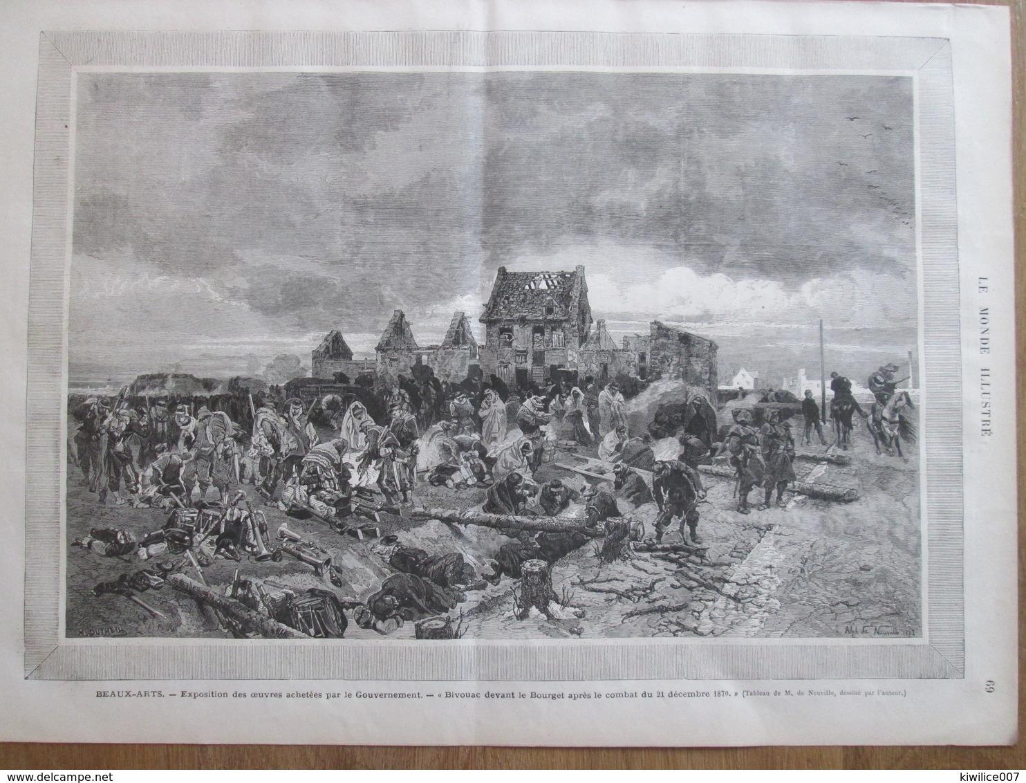 Gravure  1873 BIVOUAC  Devant LE  BOURGET  Beaux-Arts Alphonse Marie Adolphe DE NEUVILLE - Vieux Papiers