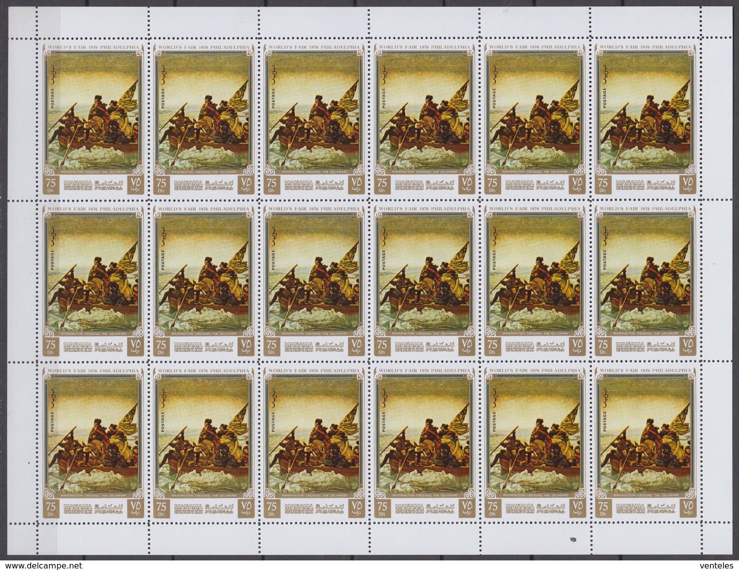 Manama 1972 SHEETS Mi # 793-98 AUnited States Bicentennial, Bicentennial Exposition In Philadelphia, G. Washington MNH - Unabhängigkeit USA