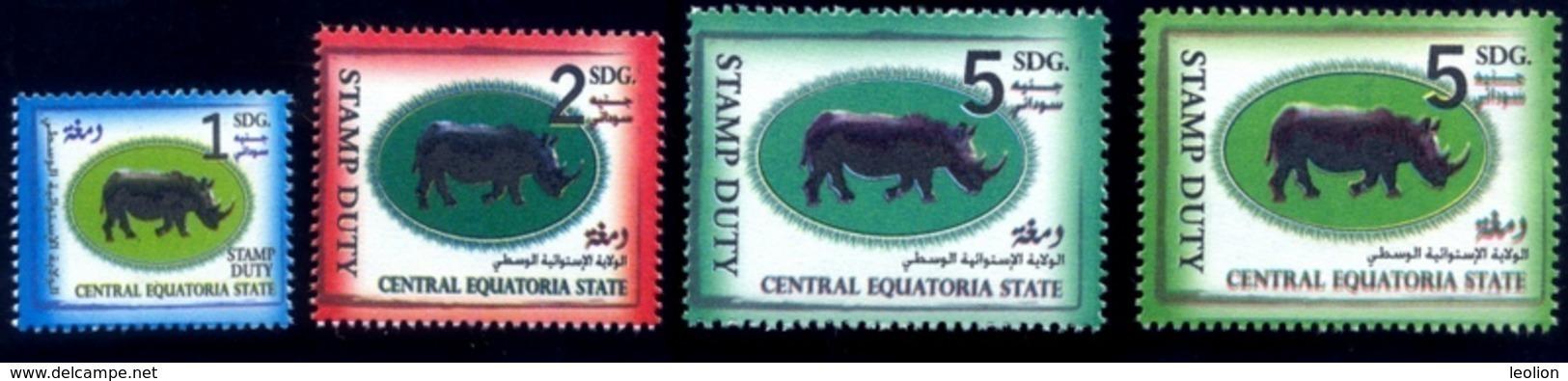 SOUTH SUDAN Set 1, 2 & 5 SDG Revenue / Fiscal Stamp Central Equatoria State RHINO Timbres Fiscaux Soudan Du Sud RARE! - South Sudan