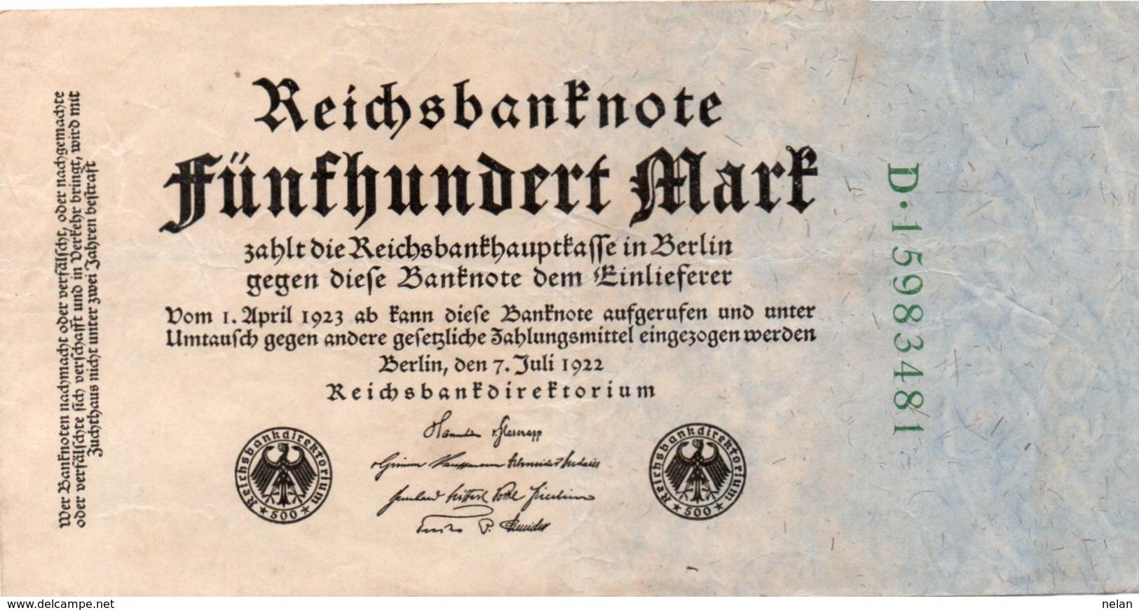 GERMANY-500 MARK 1922  P-74b  CIRC  UNIFACE - [ 3] 1918-1933 : Repubblica  Di Weimar