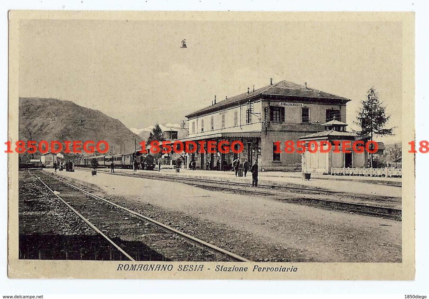 ROMAGNANO SESIA - STAZIONE FERROVIARIA F/PICCOLO VIAGGIATA 1935 ANIMAZIONI CON TRENI - Novara
