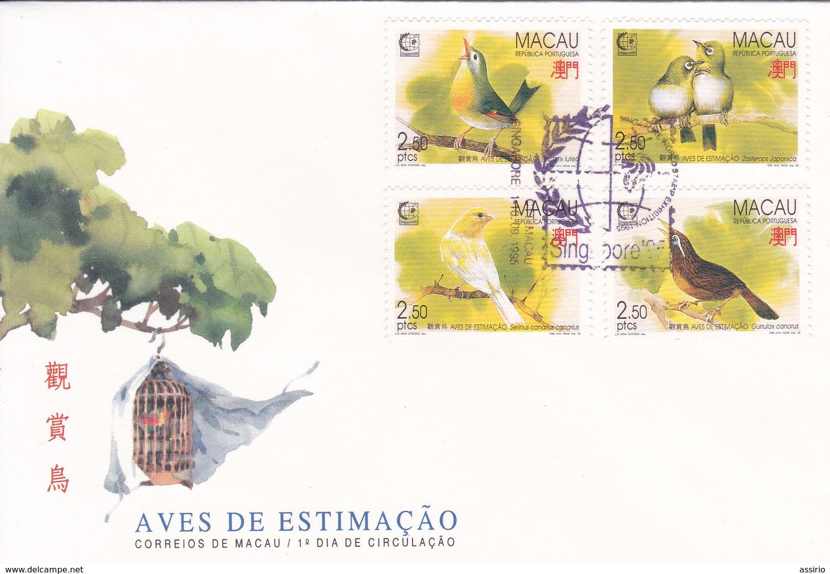 Selos - Aves 1 Fdc Macau - Sellos