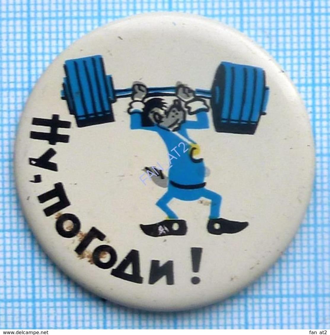 USSR / Badge / Soviet Union / ESTONIA. Cartoon Nu, Pogodi! Wait For It! Wolf. Weightlifting. Barbell. 1970s - Weightlifting
