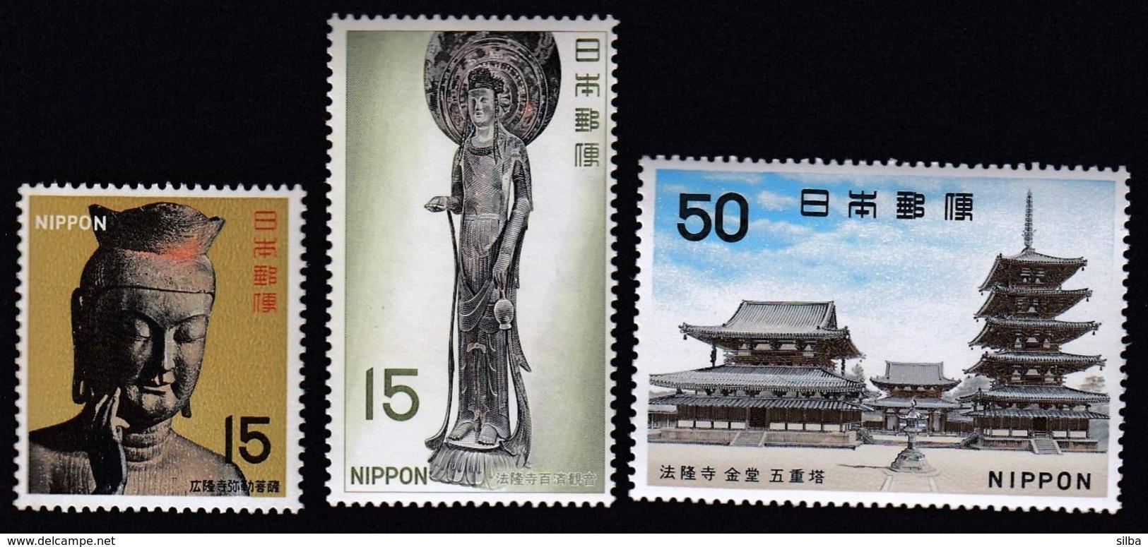 Japan 1967 / National Treasures, Asuka Period, Buddha, Koryu Temple, Kyoto, Kudara Kannon (Budda), Horyu Temple, Nara - Ungebraucht