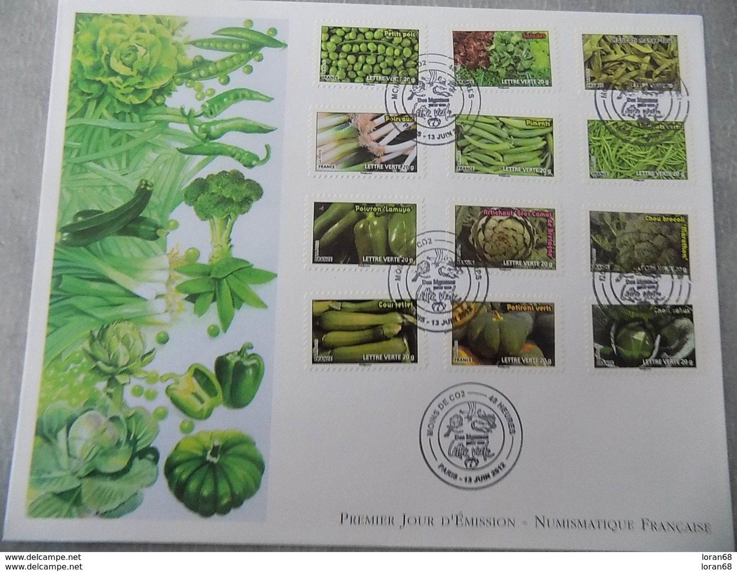 FDC Grand Format France 2012 : Moins De Co2, Légumes (série Complète 12 Timbres) - 2010-....