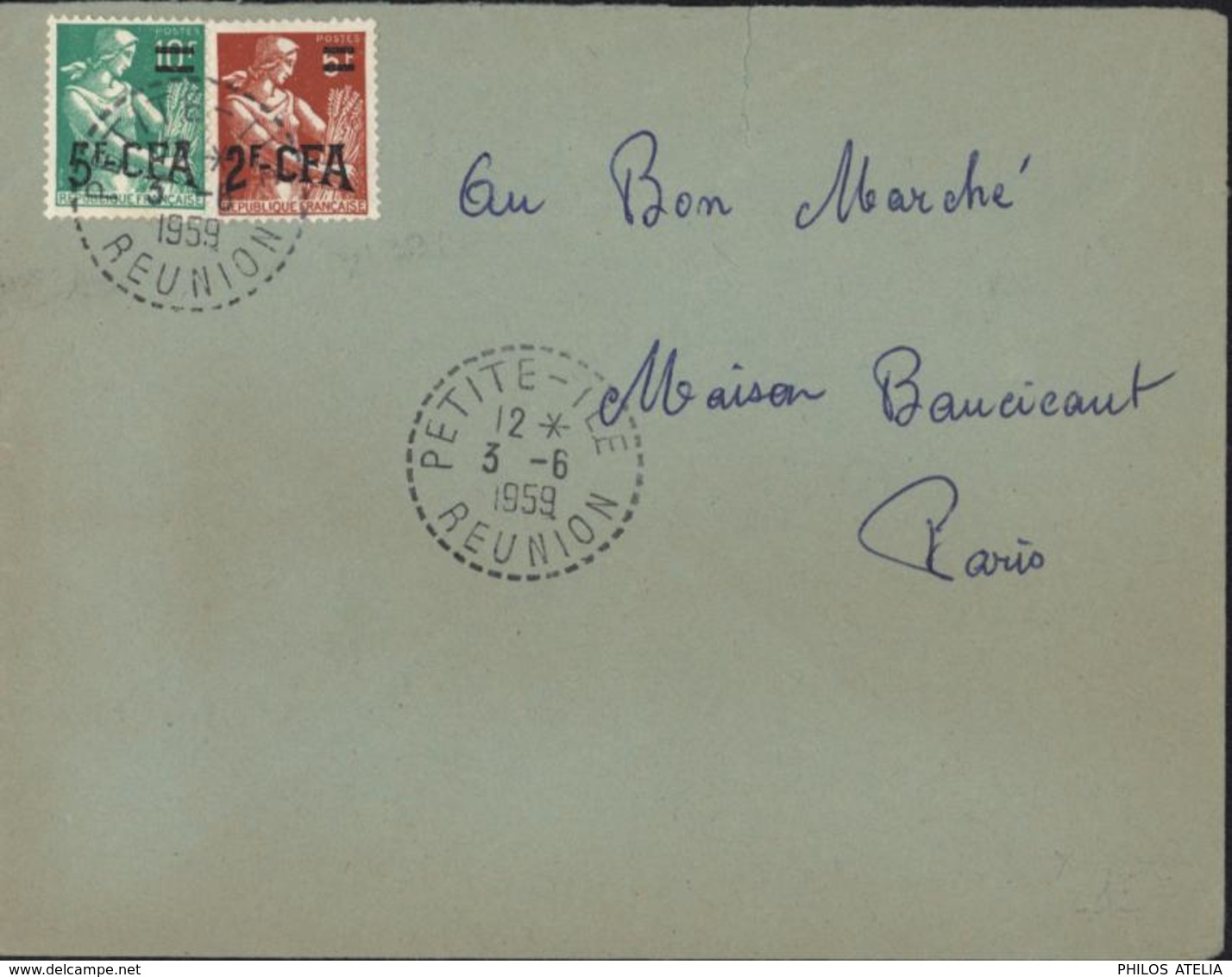 YT France 331 + 333A Surchargés CFA CAD Perlé Petite île Réunion 3 6 1959 Pour Paris - Used Stamps