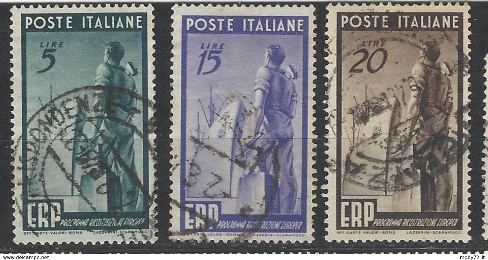 Italia - 1949 - Usato/used - ERP - Un 601/03 - Mi 774/76 - 1946-60: Gebraucht