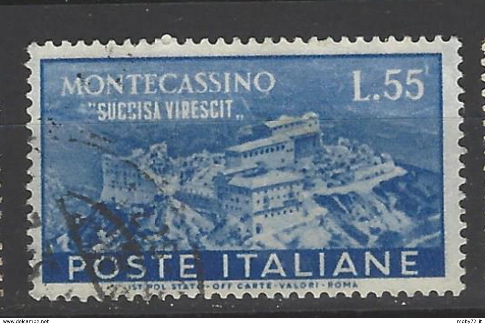 Italia - 1951 - Usato/used - Monte Cassino - Un 665 - Mi 838 - 1946-60: Afgestempeld