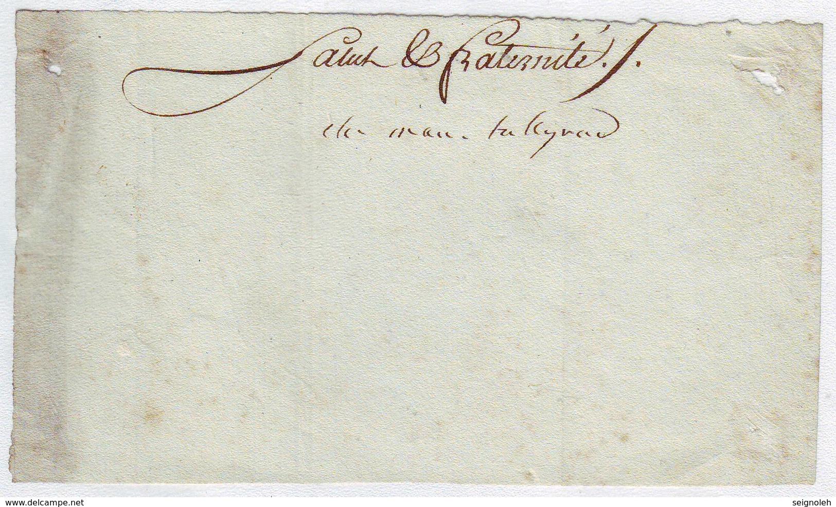 TALEYRAND Signature Autographe Sur  Petit Fragment ( Avant L'empire ) - Autographes