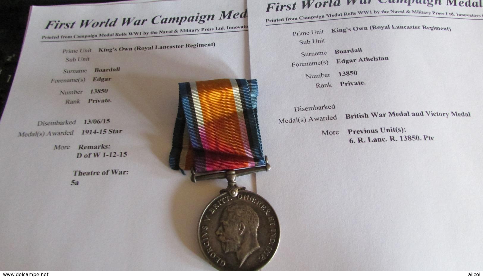 WW1 British War Medal  Royal Lancaster Regt. Died Of Wounds 1915 - 1914-18