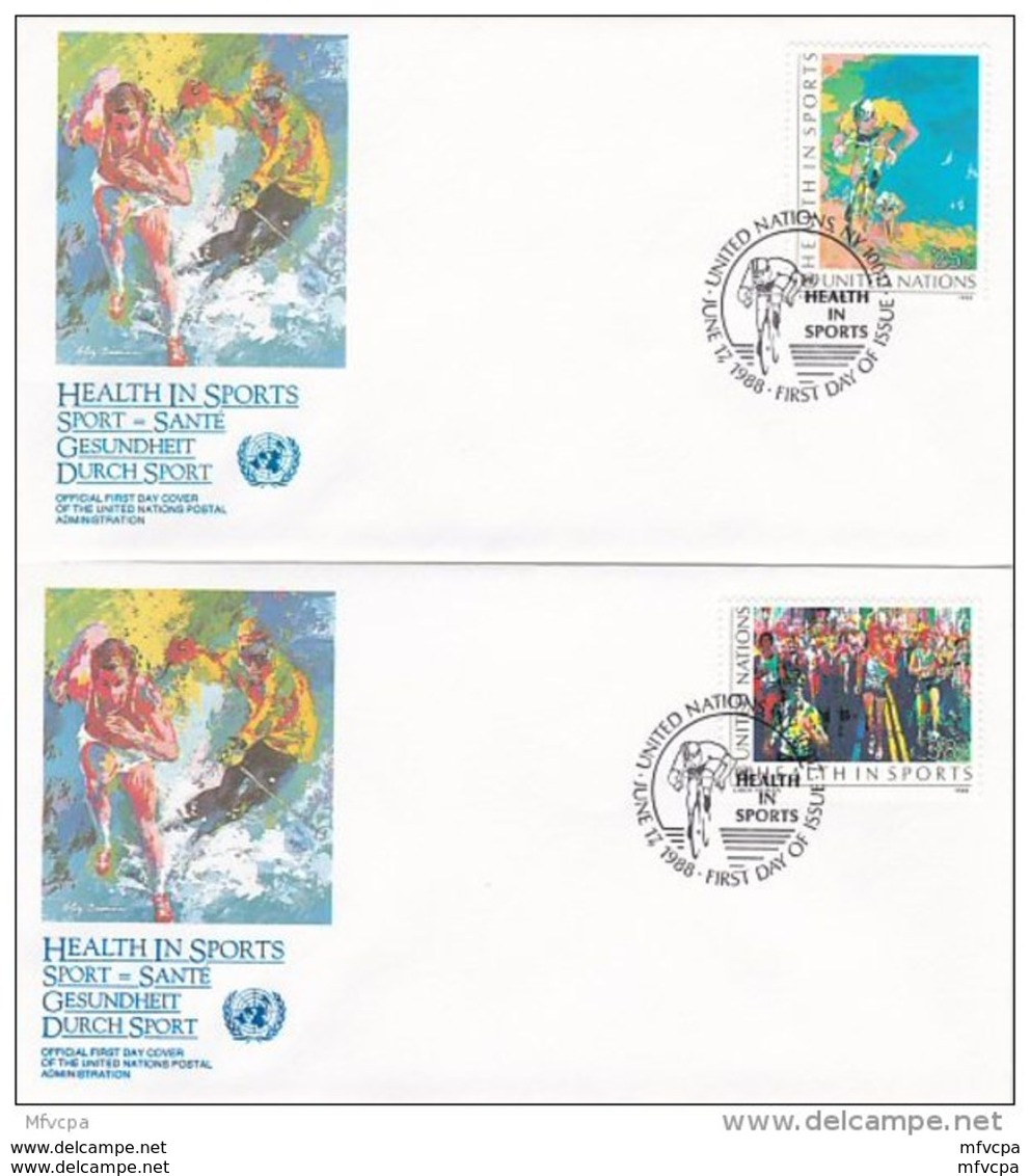 L4S031 NATIONS UNIES 1988 N Y FDC Health In Sport 25c 38 C 17 06 1988 /2 Envel.  Illus. - FDC
