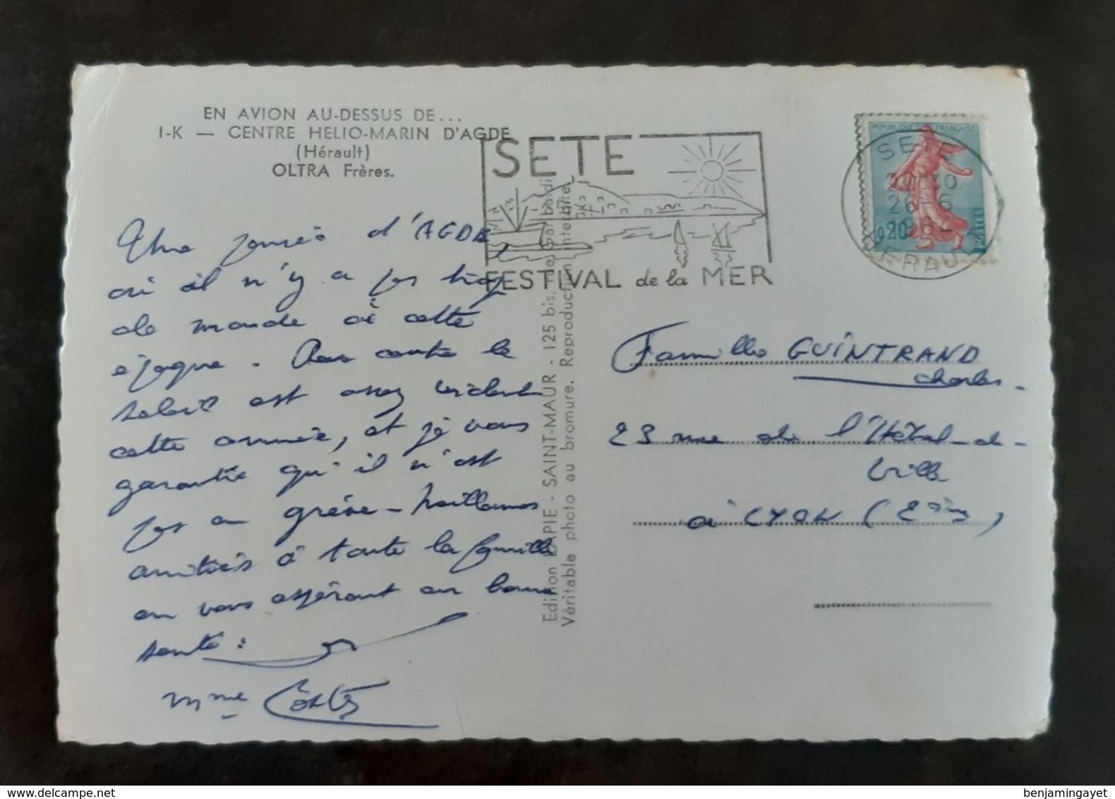 Carte Postal Timbrée - En Avion Au Dessus De ... - Agde