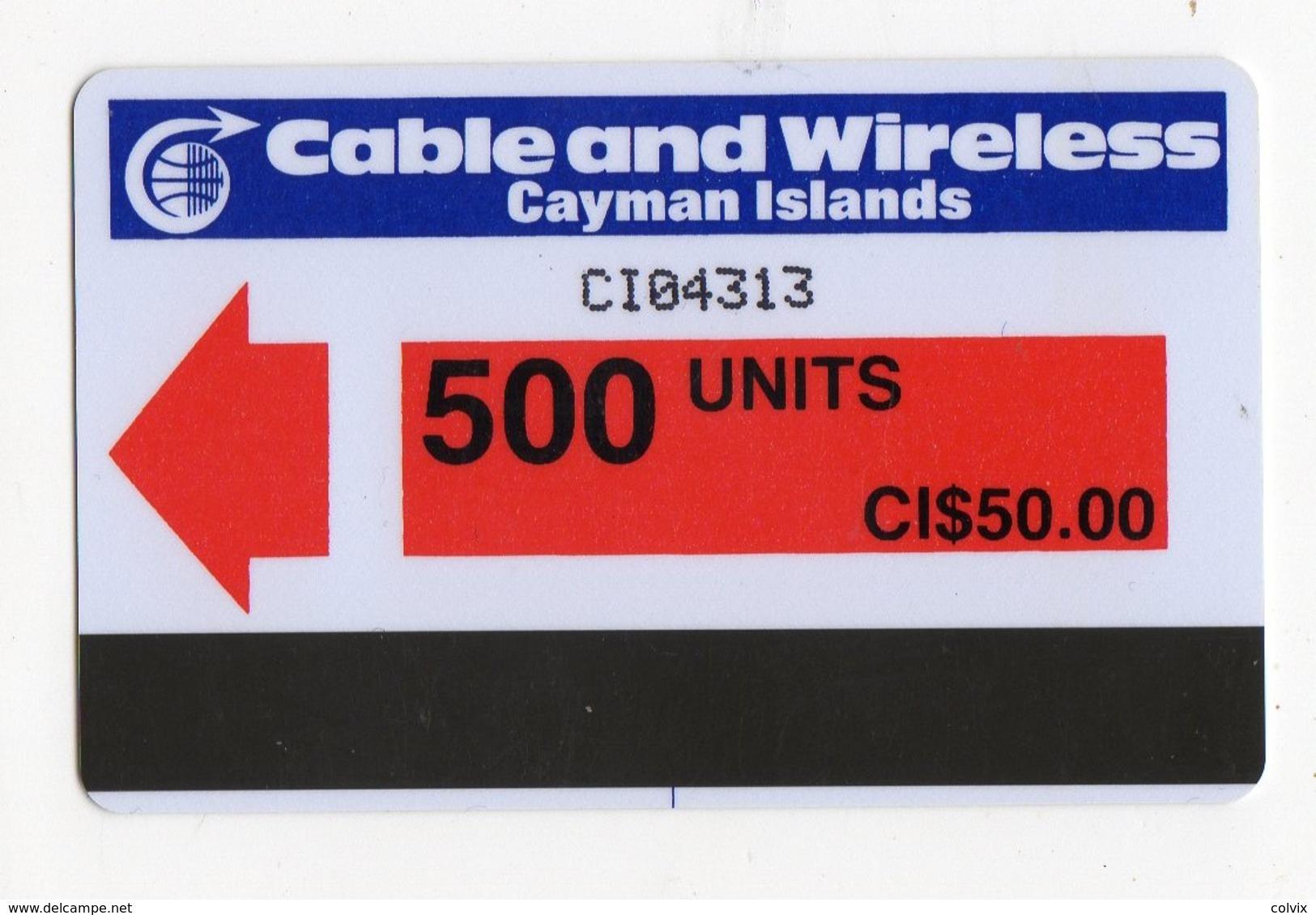 CAYMAN ISLANDS REF MV CARDS CAY-AU3 AUTELCA 500U  Année 1986 CN : CI04313 RED Arrow - Iles Cayman