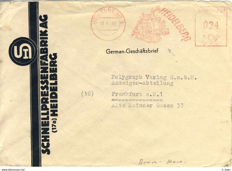 7270  Presse, Imprimerie: Ema D'Allemagne, 1948 - Heidelberg Printing Press: Meter Stamp From Germany. Gutenberg - Usines & Industries