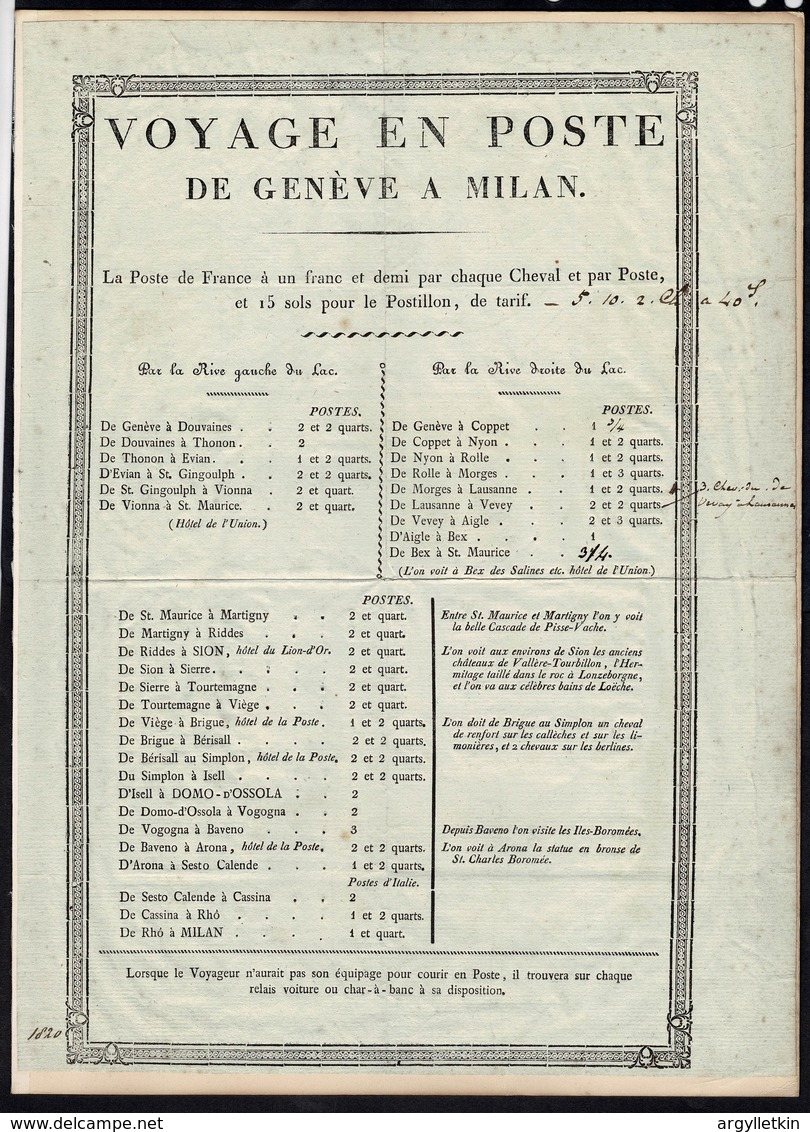 FRENCH POST NOTICE SWITZERLAND ITALY GENEVA MILAN 1820 - Europe