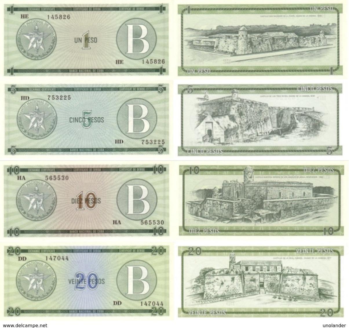 CUBA Set (4v) 1 5 10 20 Pesos ND (1985) P - FX - 6,7,8,9 Series B UNC - Cuba