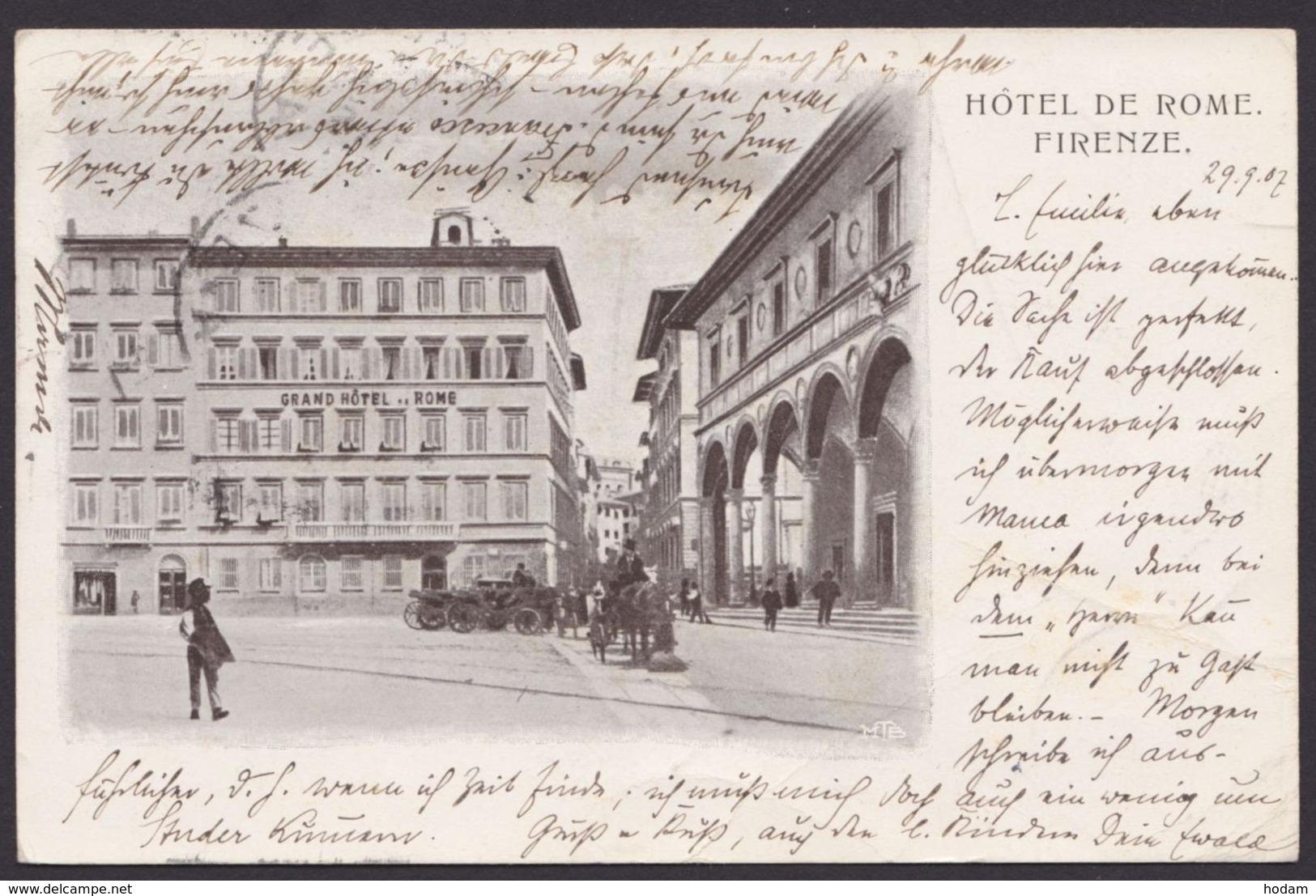 Firenze, Hotel De Rome, 1907 Gelaufen - Ohne Zuordnung