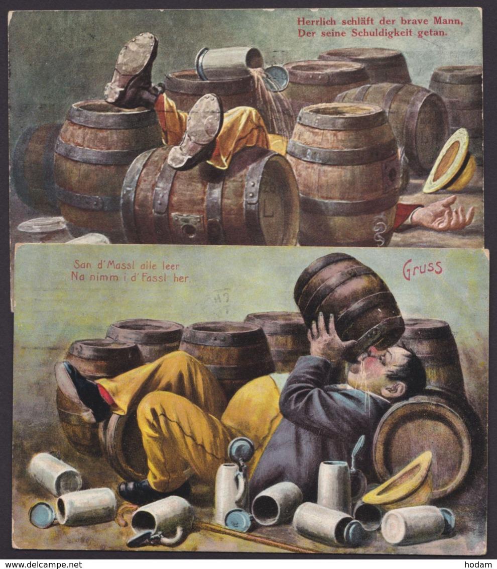 München, Biertrinker, 2 Farbige Karten, 1911 Gelaufen - München