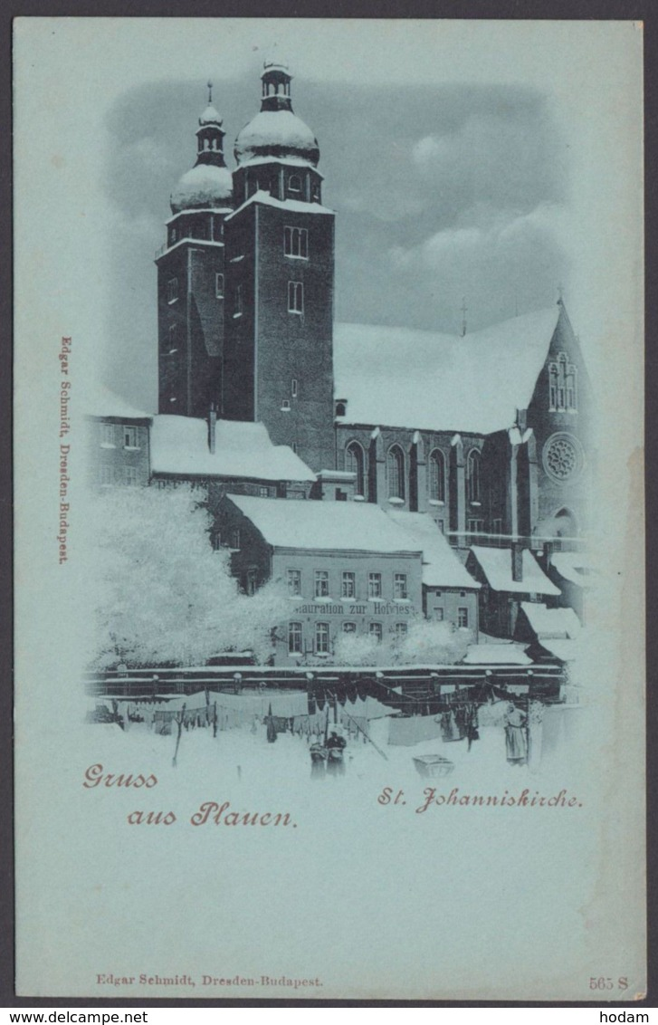 Plauen, Gruß Aus..., St.Johanniskirche Mit Restaurant Hofwiese, Winter-Mondscheinkarte, Ca. 1900 - Plauen
