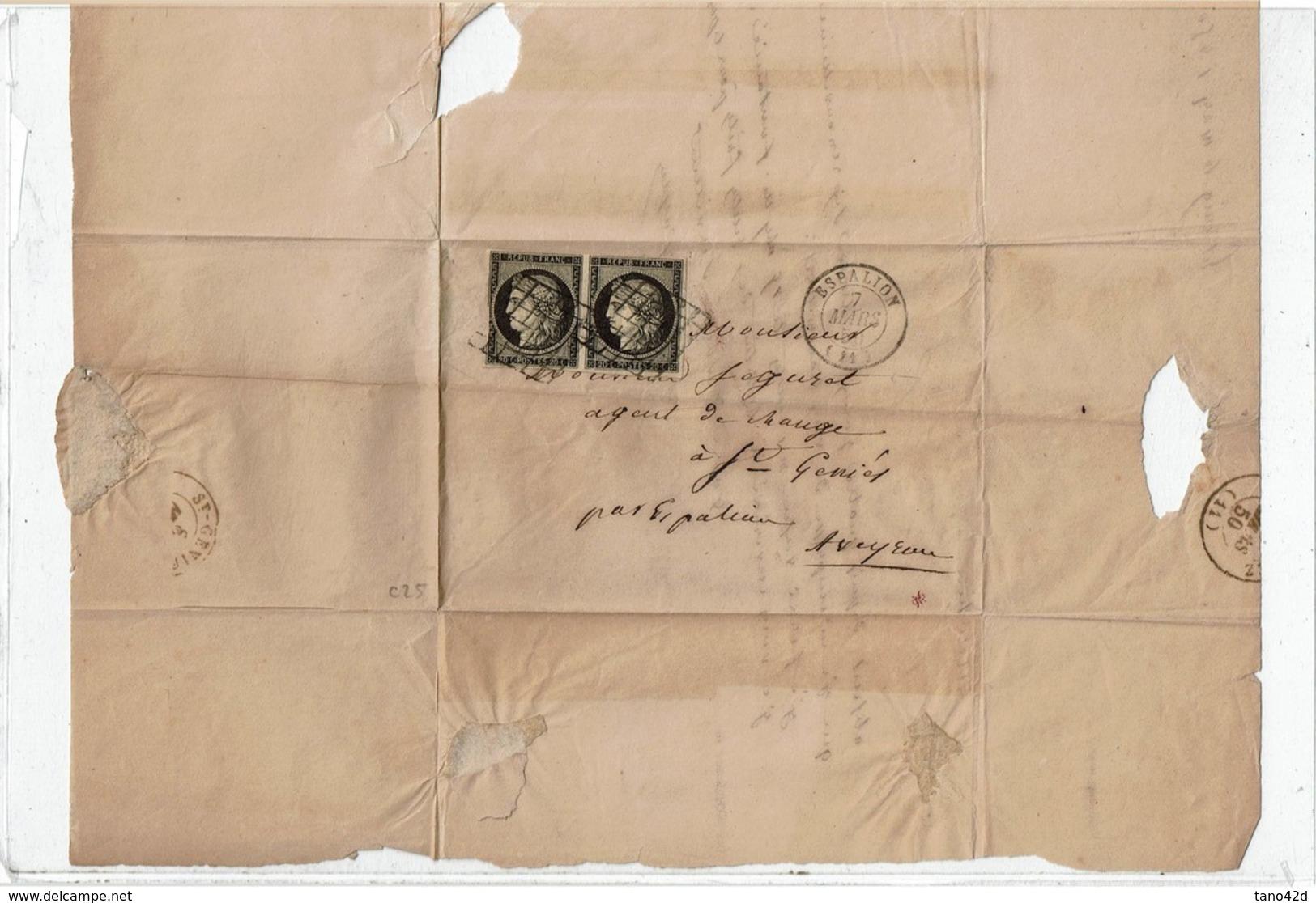 CTN61/A - CERES N°3 PAIRE (ENTAMEE) LAC ESPALION 7/3/1850 - 1849-1850 Cérès